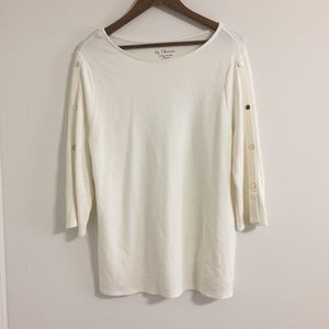 Chico's Off White Gold Embellished Sweater